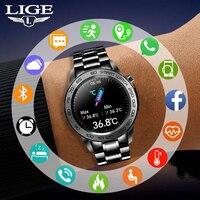 2021 Smart Uhr Männer Schrittzähler Fitness Tracker Volle Touch Intelligente Uhr Sport Temperatur Wasserdichte Smartwatch Android iOS