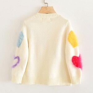 Image 2 - Пальто для девочек с надписью LOVE DD & MM новая осенняя одежда для детей 2020 милый однобортный мягкий вязаный кардиган с длинными рукавами для девочек, свитер
