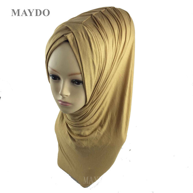 TJ29 1   Fashion Fold Muslim Hijab Headband Pashmina Muslim Shawl