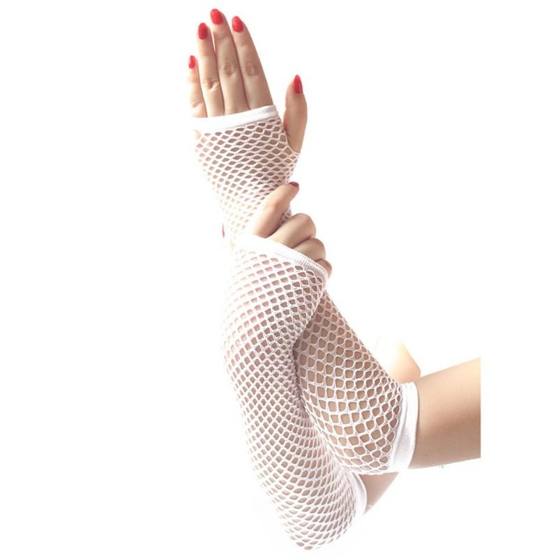 Women Women Punk Gothic Solid Color Fishnet Half Hand Fingerless Long Golves With Thumb Hole Wrist Length Hollow Out Mittens