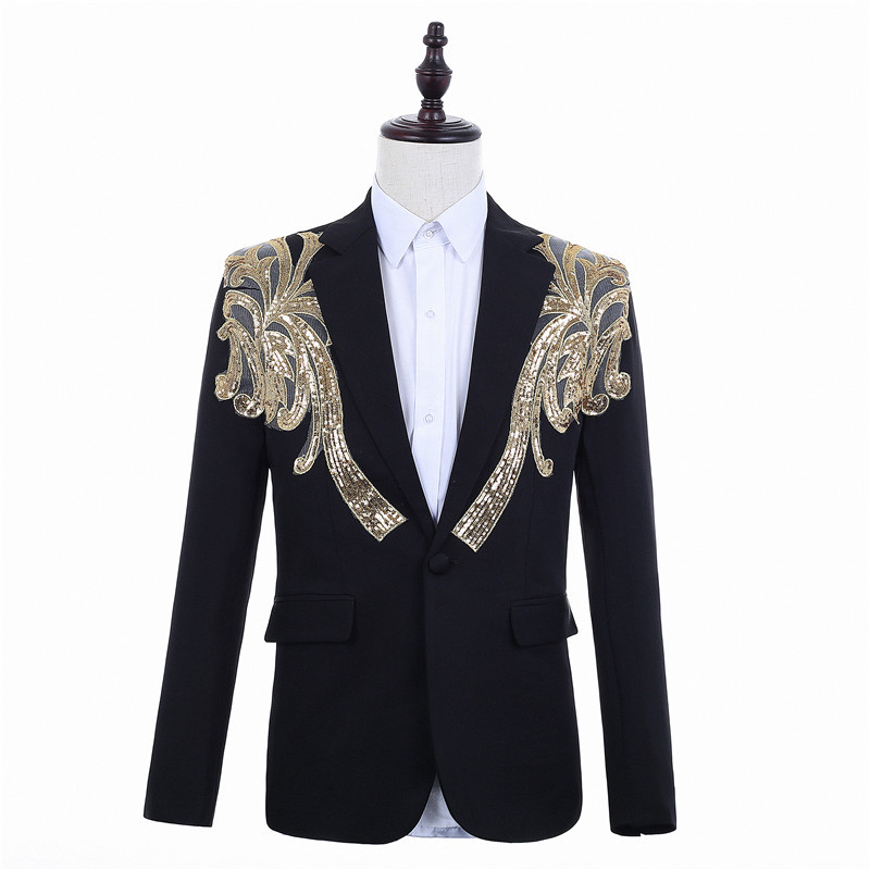 Male Golden <font><b>Sequin</b></font> Printing Black Slim Fit Wedding Suits Presenter Stage <font><b>Blazer</b></font> <font><b>Jacket</b></font> <font><b>Men's</b></font> Party Prom Casual Fashion Clothes image