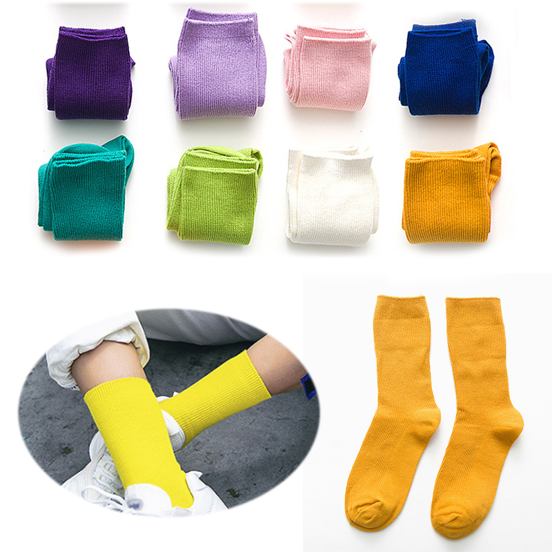 Women Solid Hosiery Socks Mid Tube Socks Pile Heap Fashion New Cute Harajuku Candy Color Cotton Winter Warm