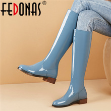 Square Heels Riding-Boots Shoes Woman FEDONAS Women Knee Female Genuine-Leather Fashion