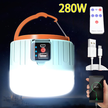 LED Camping Light USB Portable lighting Phone Charge Solar Camping Lantern Rechargeable Lamp Waterproof Outdoor Hiking Fishing