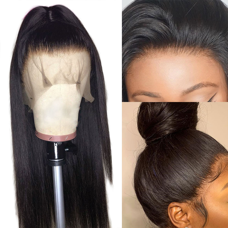 ALIBELE 360 Lace Frontal Wig Pre Plucked With Baby Hair 150 Density Brazilian Remy Straight Glueless Lace Front Human Hair Wig