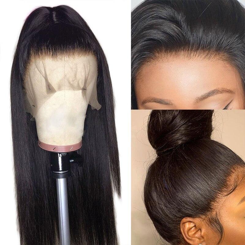 ALIBELE 360 perruque frontale dentelle pré plumée avec des cheveux de bébé 150 densité brésilienne Remy droite sans colle dentelle avant perruque de cheveux humains