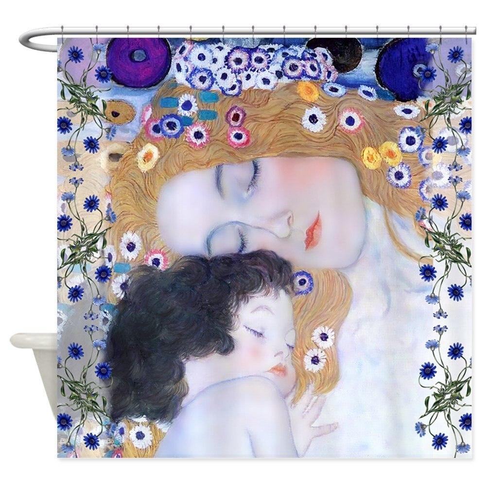 Diseño de Gustav Klimt, cortina de ducha de madre e hijo, tela decorativa de poliéster para Baño NEO Coolcam Smart Home Z Wave Plus, interruptor inteligente de cortina para cortina eléctrica motorizada, persiana enrollable