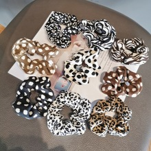 Hot Sale Leopard Zebra Corduroy Scrunchies Hair Accessories For Women Girl Elastic Hair Ring Hair Rubber Bands Ponytail Holder