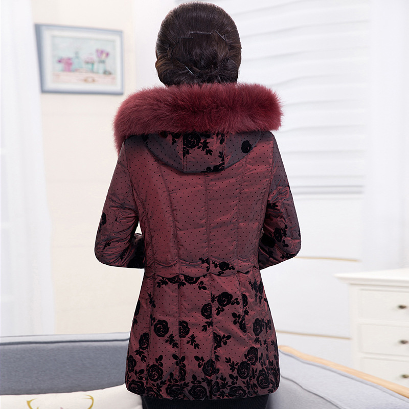 Plus Size 5XL Women Winter Duck Down Jacket Middle-aged Elegant Printted Hooded Mother Long Parka Abrigos Mujer LX2256
