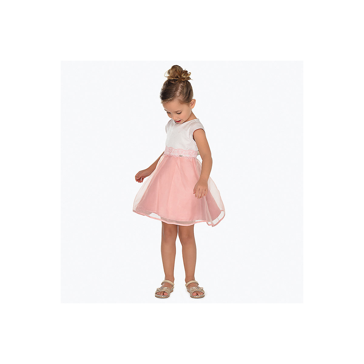MAYORAL Dresses 10685167 Girl Children fitted pleated skirt Pink Polyester Casual Solid Knee-Length Sleeveless Sleeve