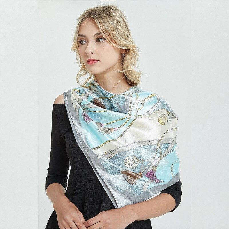 Silk   Scarf   for Women Print Satin Female Square Shawl 90x90cm Bandana for Head Large Hijab   Scarf   Ladies 2019 Hair   Scarves     Wrap