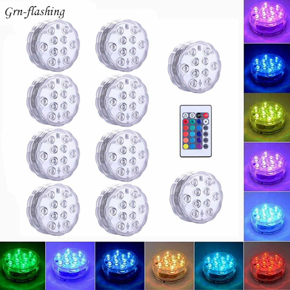 10 Led RGB Submersible Light Remote Control Battery IP68 Underwater Vase Garden Swimming Pool Party Bathroom Decor Night Lamp