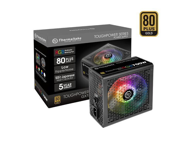 Tt (Thermaltake) Rated 700W Toughpower GX1 RGB 700W Power Supply (RGB Fan/80PLUS Gold/ten-year Warranty)
