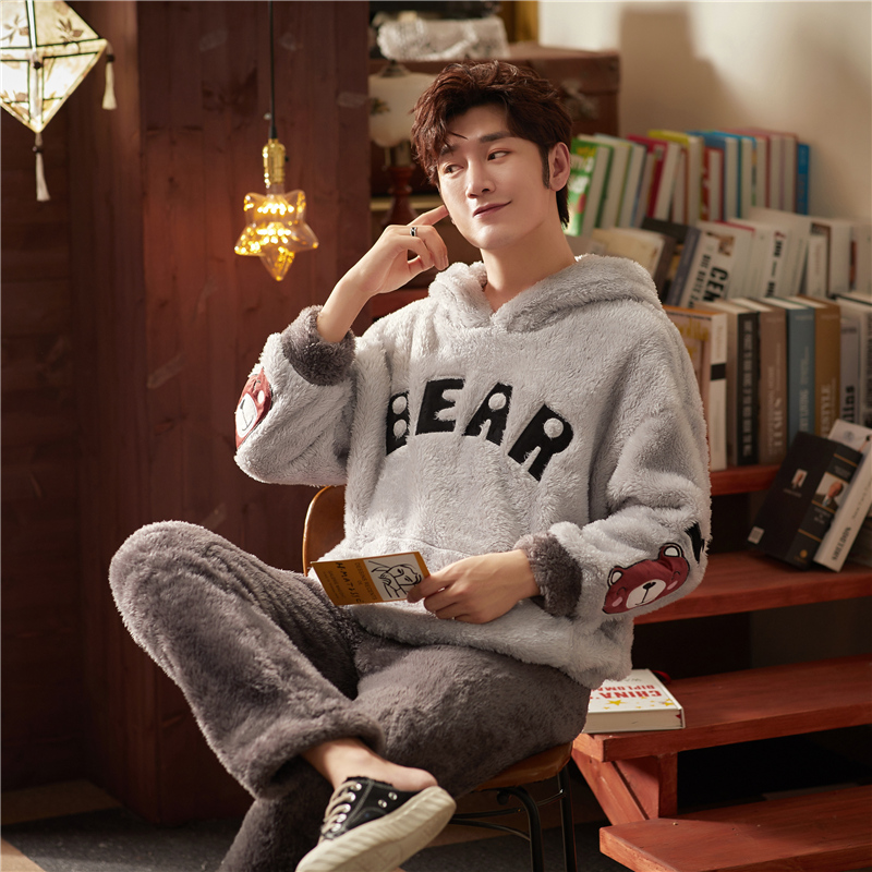 Pajamas For Men Sleepwear Men's Flannel Cartoon Winter Sleep Suit Pajama Set Male Mens Pyjamas Warm For Sleeping  Nightwear