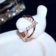 Brand Letter Open Ring Women Luxury Rose Gold Metal Finger Rings Cubic Zirconia 2 Layers Female Anillos Fashion Jewle luxury large pink opal finger rings rose gold color fashion brand cubic zirconia punk jewellery jewelry for women dfr086