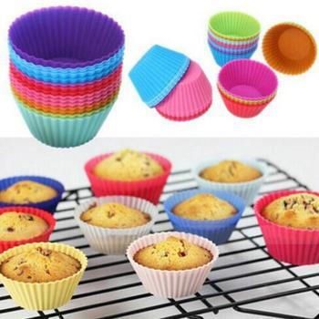 De silicona Muffin torta Cupcake torta de la taza molde caso para hornear de molde bandeja para hornear Jumbo LX7779