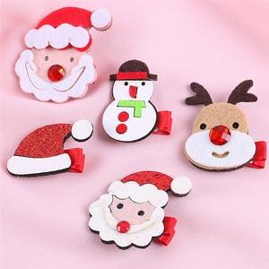 Hair Pins Kids Infant Baby Girls Christmas Bow Cartoon Hairclip Hairpin Set Barrettes Hair Accessories For Girls 30N08