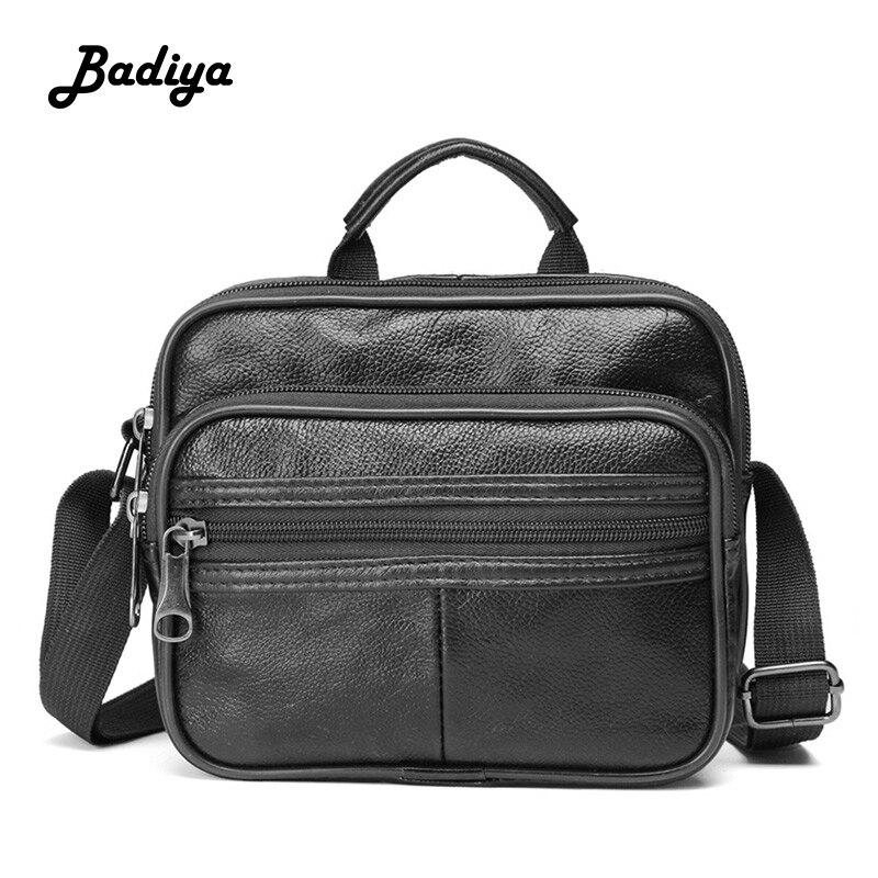 Cow Leather Male's Crossbody Bag Genuine Leather Business Men's Messenger Bag Vintage Zipper Shoulder Handbags For Man Gifts