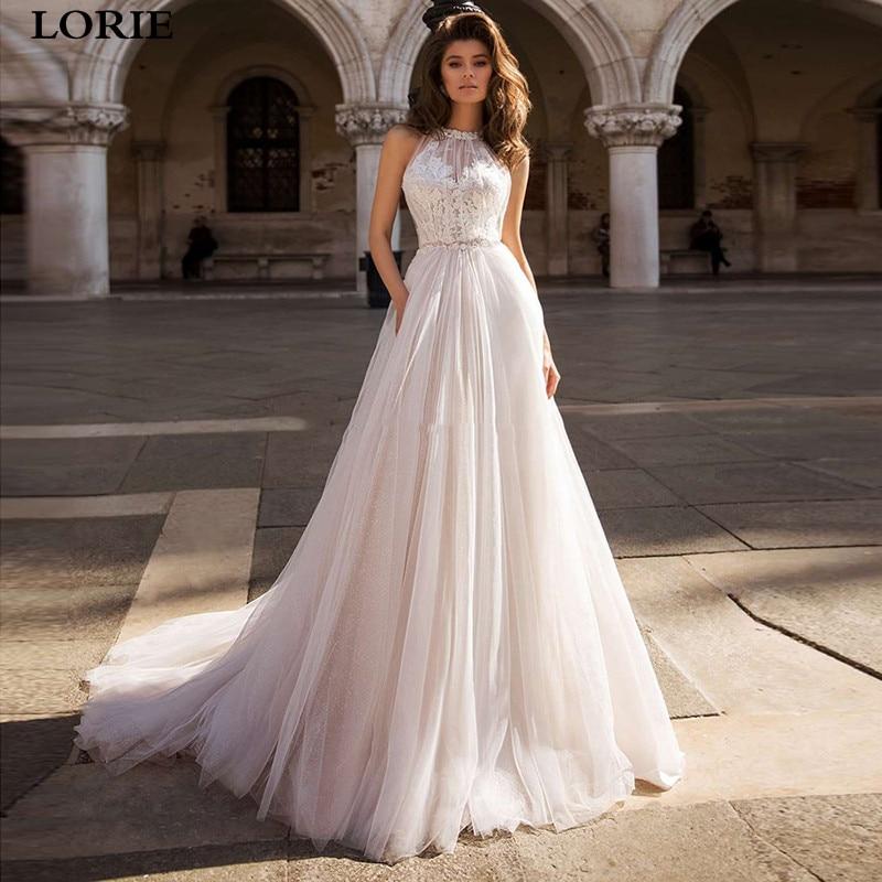 LORIE A Line Lace Boho Wedding Dresses Appliqued Lace Bride Dresses Elegant Princess Wedding Gowns Vestidos De Novia