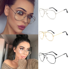 Aviation Metal Frame Sunglasses Round Vintage Glasses Transparent Women Pilot St