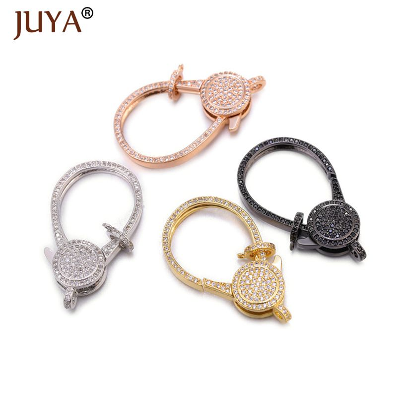 Juya Luxury Zircon Lobster Clasps Trendy Hooks Connectors For Jewelry Making DIY Beaded Bracelets Necklaces Accessories Supplies