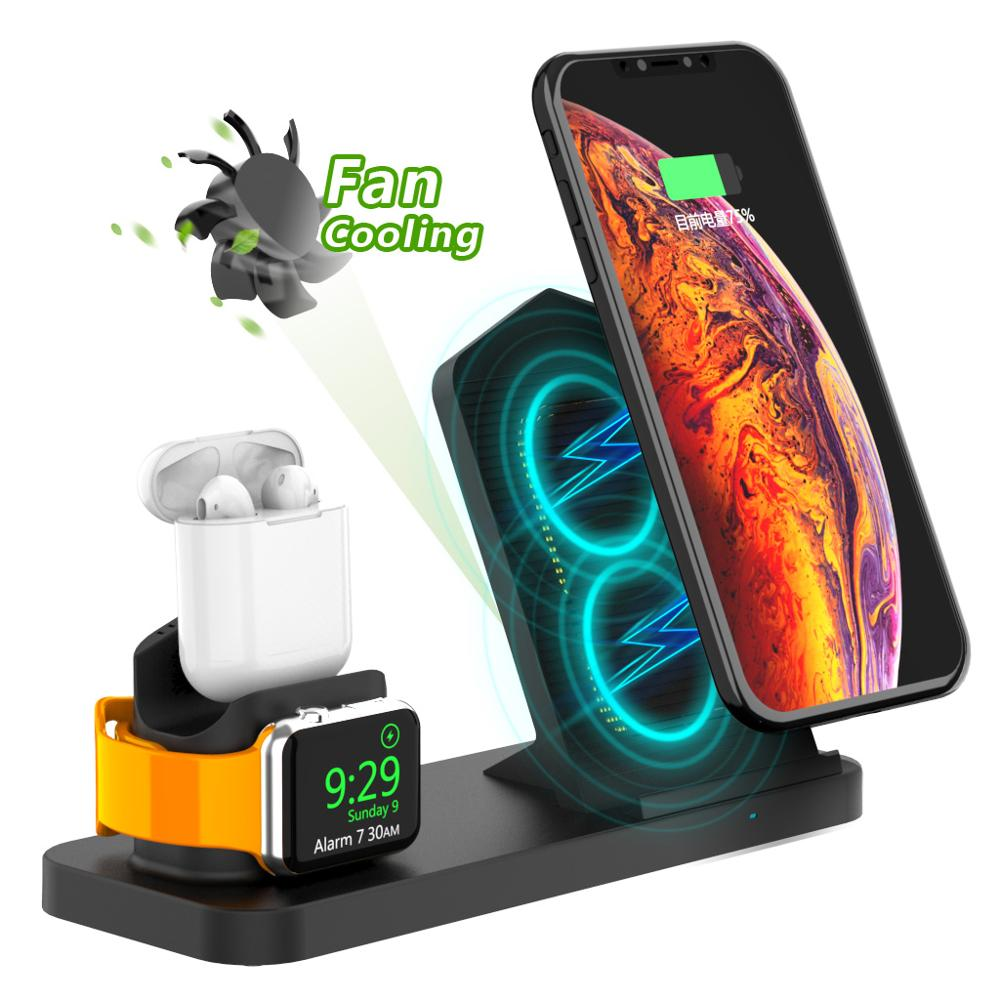 3 in 1 Qi Fast Wireless Charging Stand for iWatch 2345 and Airpods1/2/Pro charger Station Compatible for iPhone11 X/XS/XR/Xs Max|Wireless Chargers|Cellphones & Telecommunications - title=