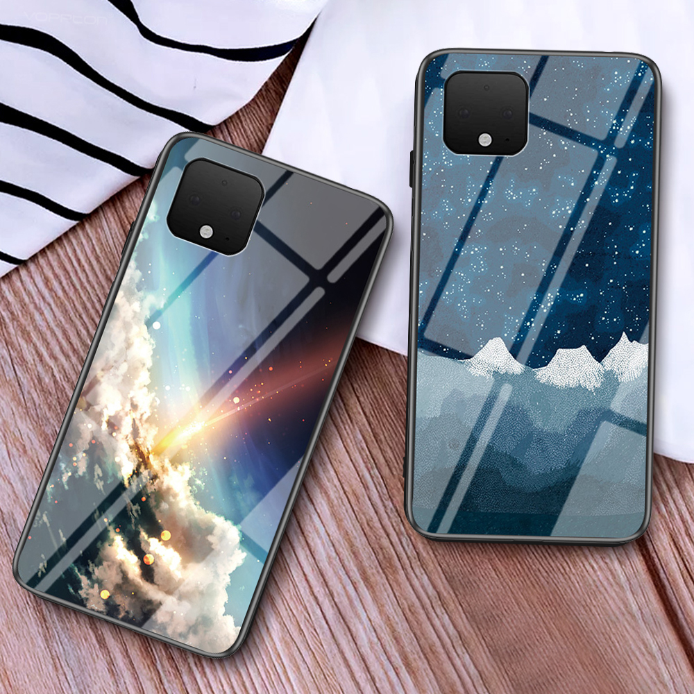 Starry Moon Tempered Glass Case For Google Pixel 4 XL 3A 3 Xl 2 1 Xl 4A Case Hard Plastic Back Cover For Google Pixel 4 4A
