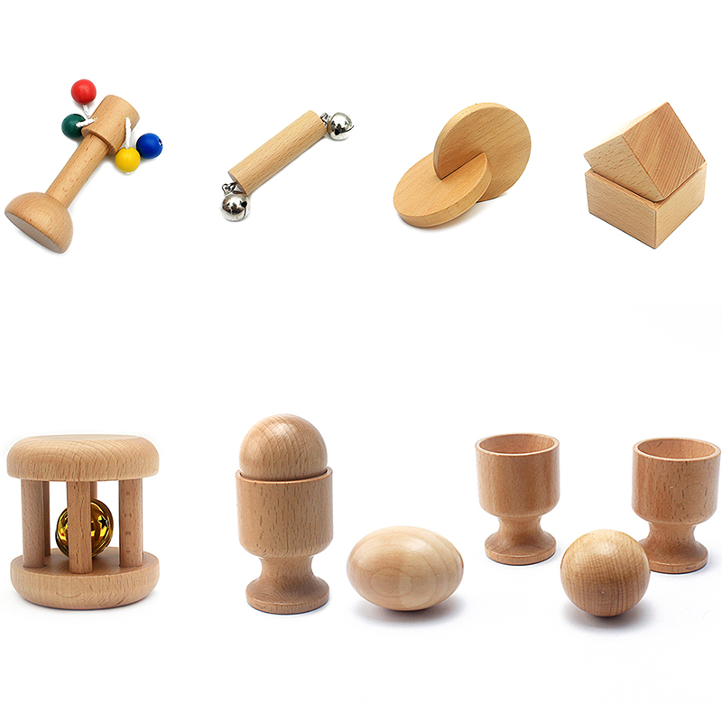 Baby & Toddler Toys Montessori Music & Sound Object Fitting Exercise Teething Wood Toy Natural Wood Non-Paint Baby 6-12 Month