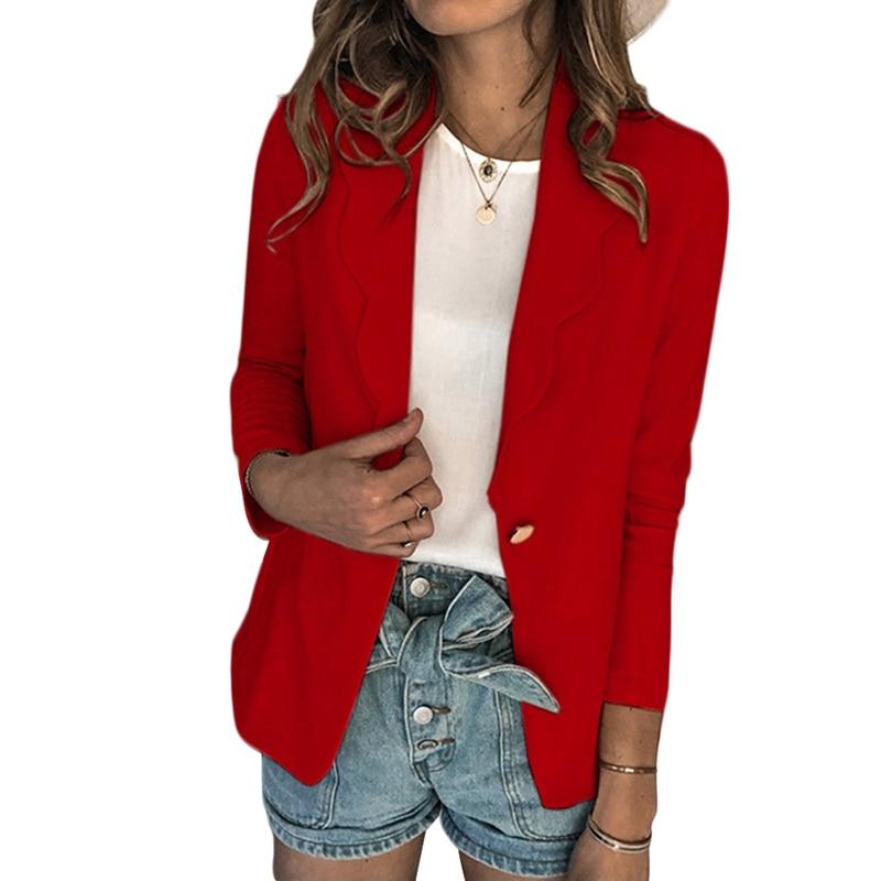 2020 Fashion Office Ladies Blazer Jackets Suit Women Pure Color Retro Button Blazers Career Coats Elegant Ladies Streetwear