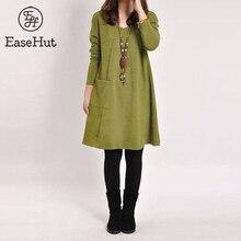 EaseHut styl Mori Girl Casual Midi sukienka kobiety dekolt w serek z długim rękawem 4XL 5XL duży rozmiar sukienka 2020 kobiet jesień zima sukienka Vestidos