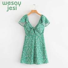 floral print Dress Womens Trend Sexy Vintage Floral High Waist Short Mini Green Dresses Bohemian Beach Holiday Party 2019