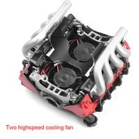 RC Car LS7 V8 Simulate Engine Motor Cooling Fans Radiator Kit for 1/10 RC Crawler TRAXXAS TRX4 TRX6 AXIAL SCX10 90046 VS4 3