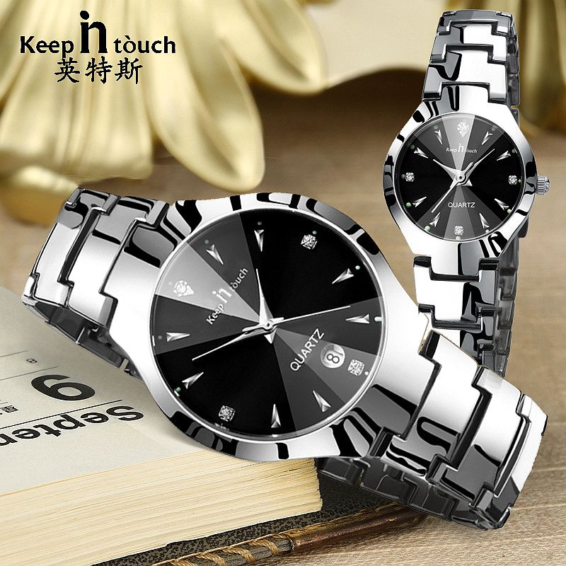 KEEP IN TOUCH Couple Watch Couple Gifts Stainles Steel Ladies Women Watch Date Luminous Men Quartz Watches Waterproof Wristwatch