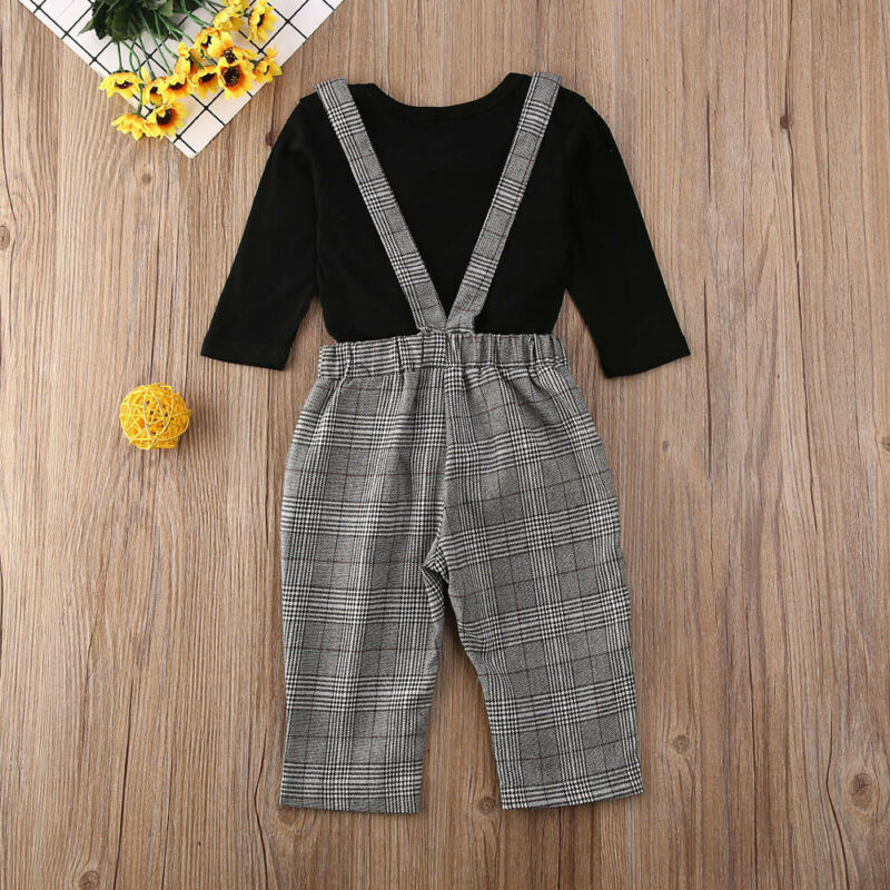 Baby Set New Matching Romper Overall Skirt Bow Plaid Long Sleeve Gentalmen Set Pocket Autumn Spring Cotton Daily Free Shipping