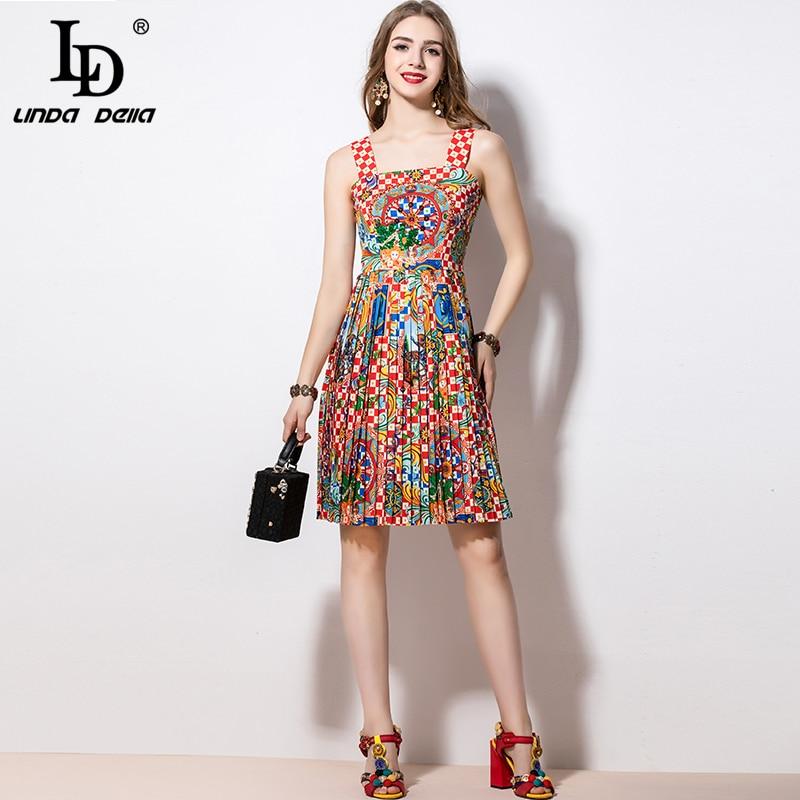 LD LINDA DELLA 2020 Fashion Runway Summer Dress Women's Spaghetti Strap Sequin Beading Pleated Print Vacation Party Midi Dress