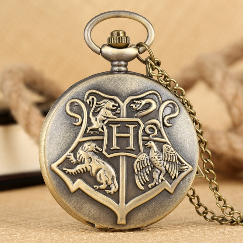 Bronze Witchcraft And Wizardry Badge H Quartz Pocket Watch Sweater Necklace Pendant With Hollow Triangle Accessory Sweater Chain