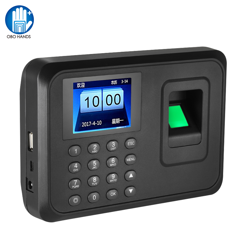 2.4inch USB Biometric Fingerprint Time Attendance Machine Finger print Time Clock Device Employee Office Check-in Recorder A6