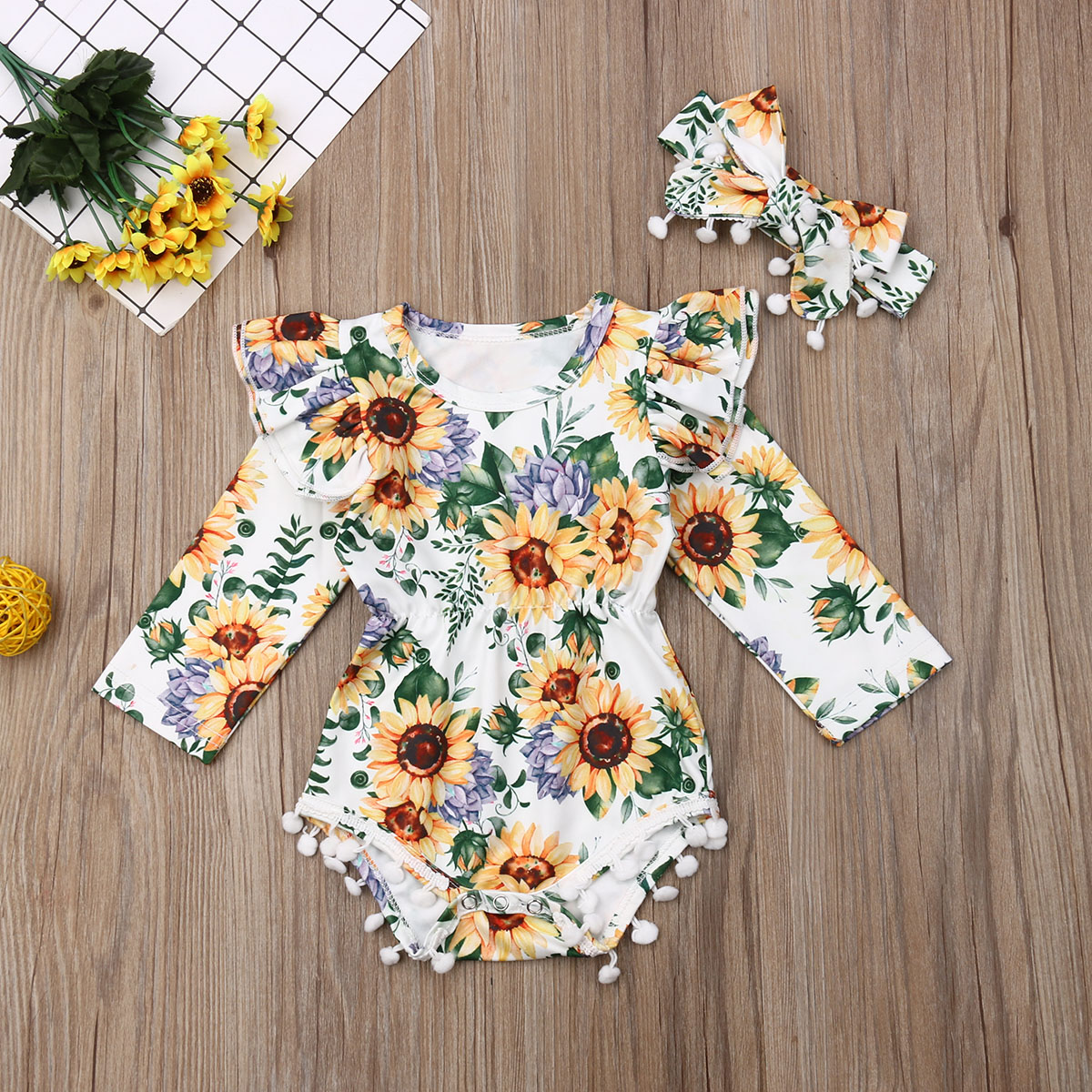 Newborn Baby Girl Short Sleeve Ruffles Sunflower Romper+Headband Clothes Set