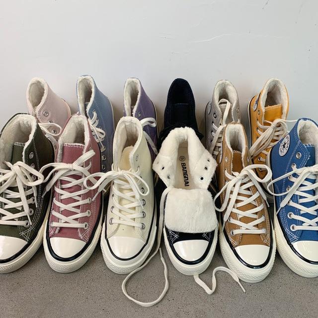 High top Canvas Shoes Women Sneakers Women Winter Warm Sneakers Casual Female Vulcanize Shoes Lovers Sport Shoes Men Women Shoes