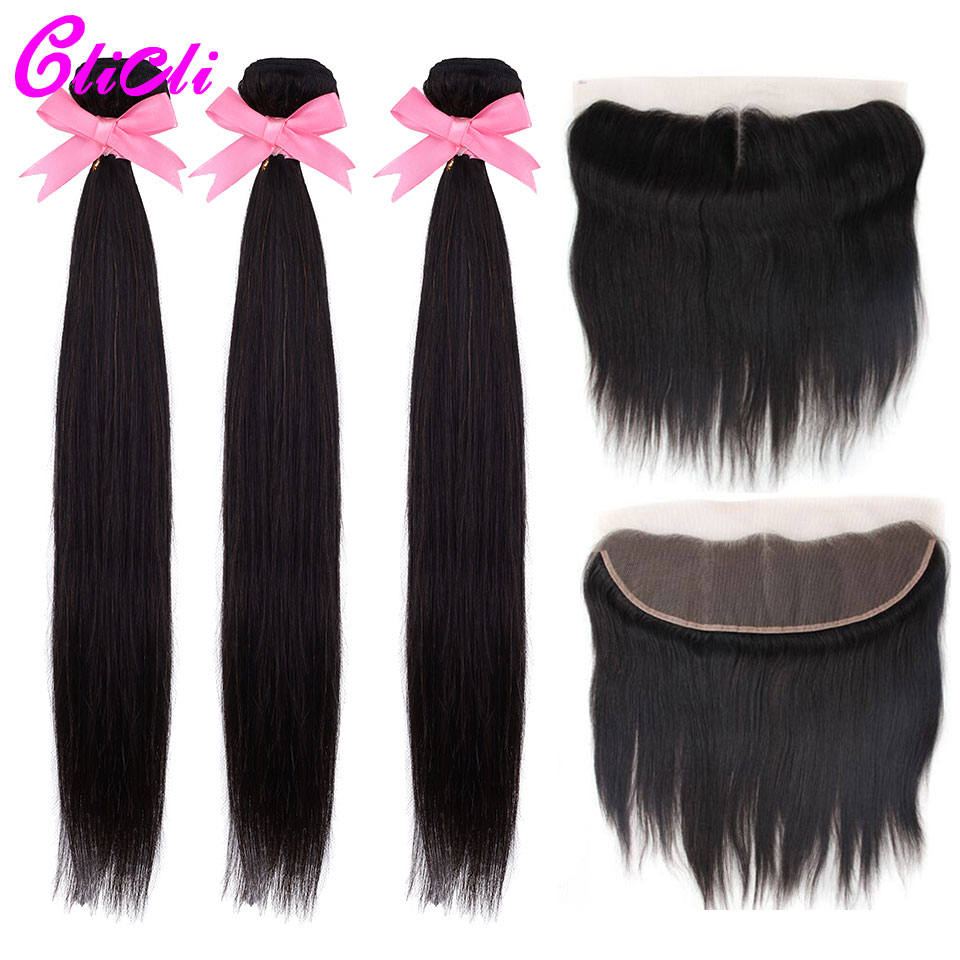 Indian Natural Straight Hair Bundles With Frontal Human Hair Weave 3 Bundles With 13x4 Transparent Lace Frontal Nonremy Clicli