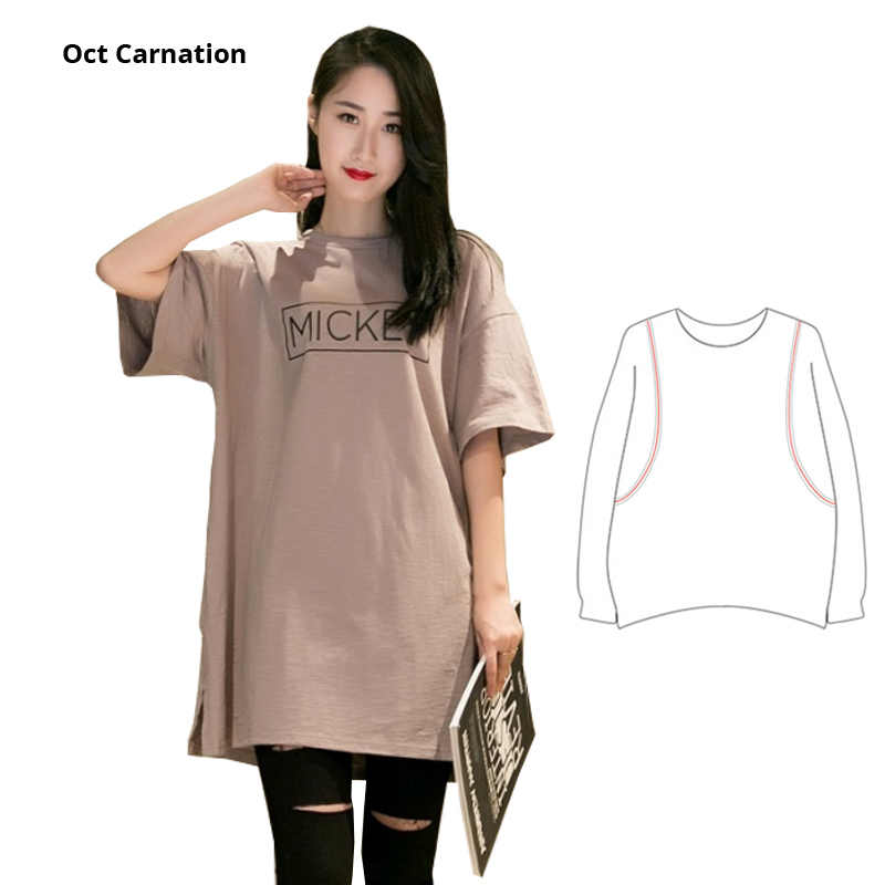 Khaki Cartoon Pattern Loose Plus Size Nursing Shirts Breastfeeding Clothes  Summer Pregnant Clothes Funny Shirt
