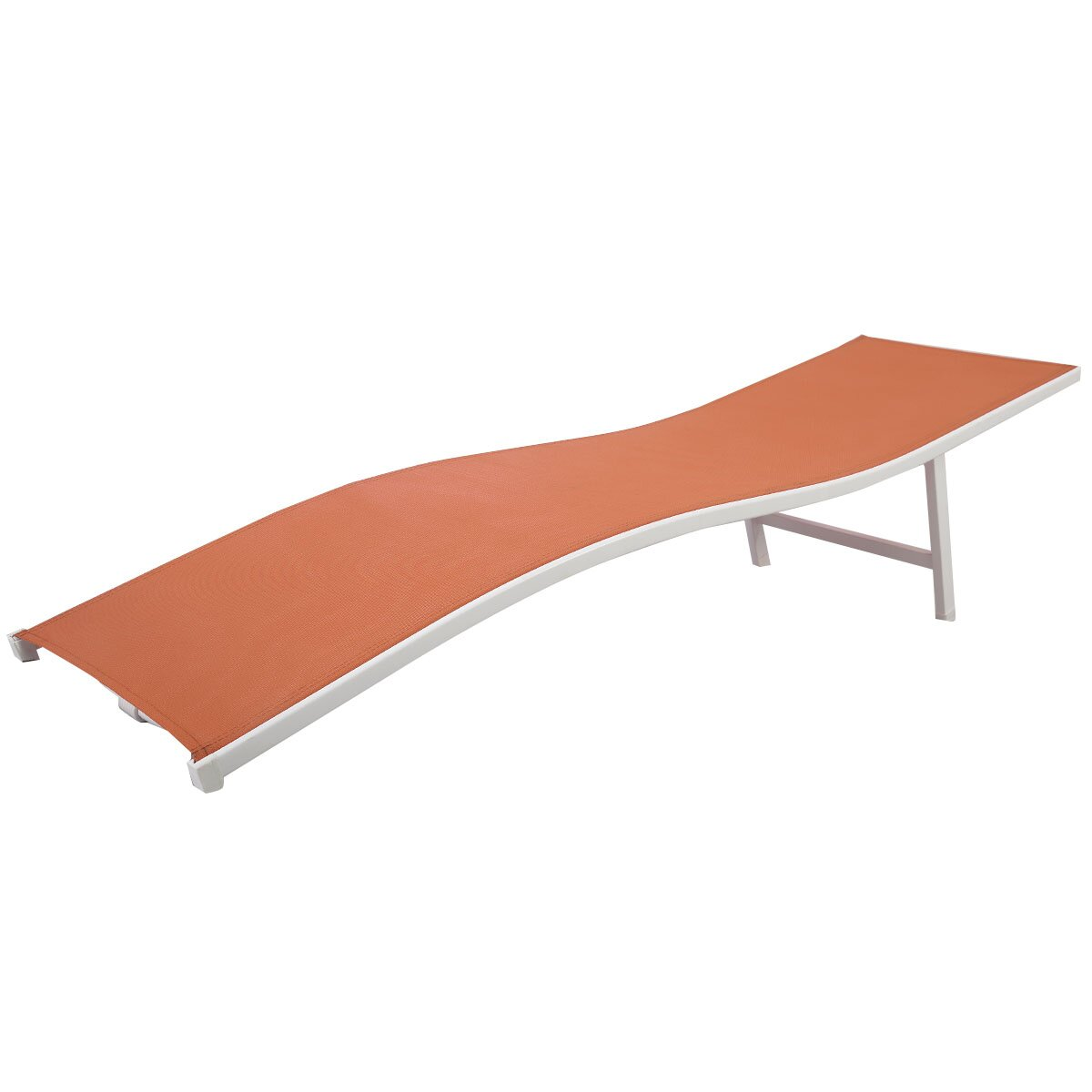 Costway Lounger Patio Outdoor Chaise Lounge Chair Bed Orange