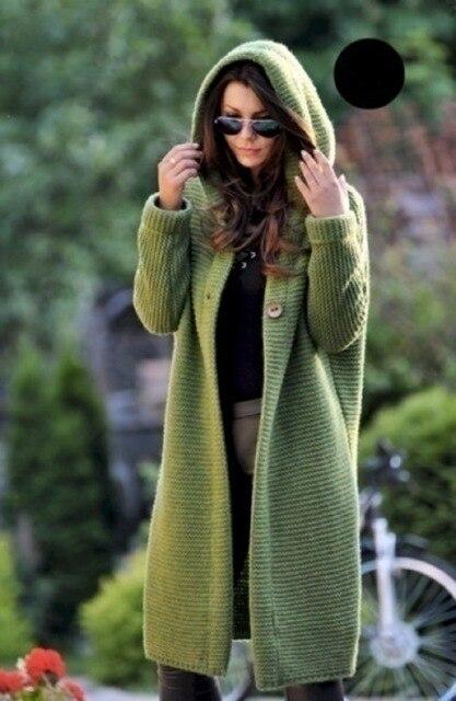 Women Long Cardigan Solid Knitted Hooded Sweater 2021 Autumn Winter Female Coat Plus Size 5XL Casual Streetwear Loose Coat 3