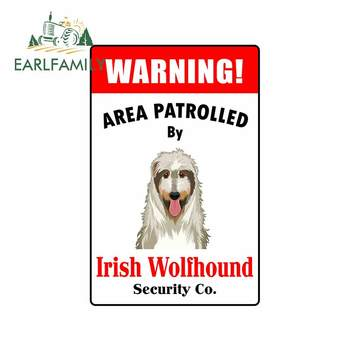 EARLFAMILY 13cm x 8.6cm for Patrolled By Irish Wolfhound Cartoon Scratch-Proof Car Stickers Waterproof Decal for RV Motorcycle image