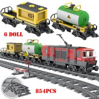 854pcs City Cargo Train Track Rail Building Blocks Compatible Legoing Railway Train Technic Bricks Educational Toys For Child