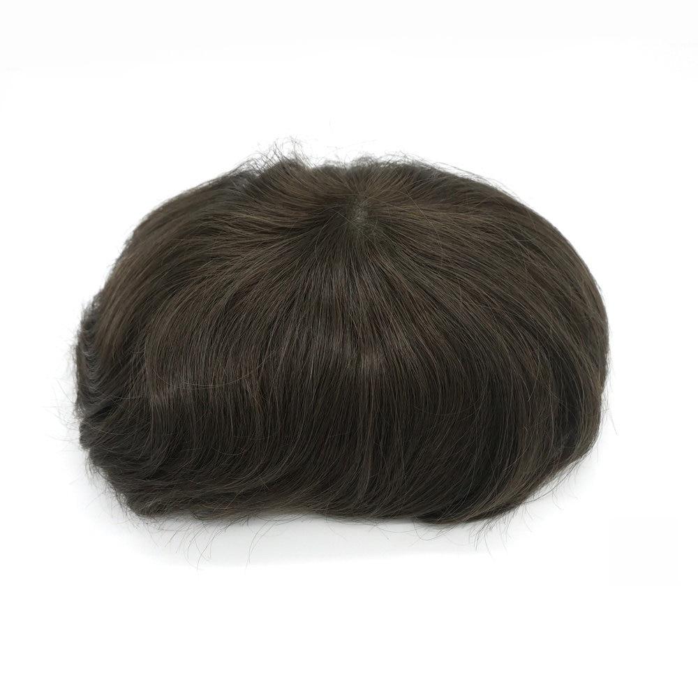 Hstonir 4ash# Wig Men Indian Remy Hair Men Toupee System Super Thin Skin H078