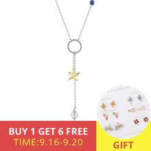 XiaoJing Summer Collection Starfish Pearl Necklace 100% 925 Sterling Silver Fashion Jewelry for Women Party Gift free shipping