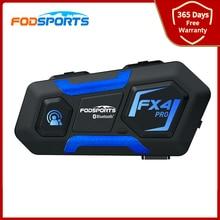 Fodsports Fx4 Pro ชุดหูฟังบลูทูธอินเตอร์คอมรถจักรยานยนต์หมวกนิรภัย BT Interphone 4 Riders 1000M วิทยุ FM Voice Assistant