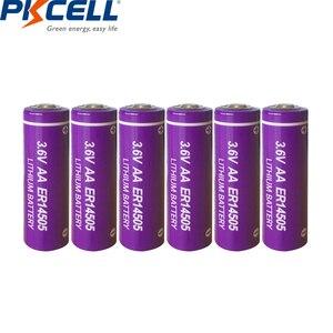 Image 1 - 6 LiSCLO2 ER14505 pçs/lote PKCELL 3.6V 14505 2400mah AA Bateria Superior LR6 R6P 1.5V Baterias Para Câmeras de Rastreamento GPS