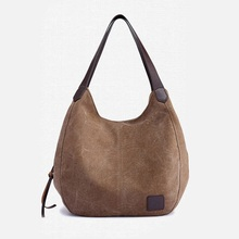 Womens Canvas Handbags Female Hobos Single Shoulder Bags Vintage Solid Multi-pocket Ladies Totes